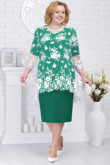 Green Mother of the bride dress with lace Overlay Top Plus size nmo-578