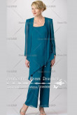 greenblack hunter green Square Chiffon Three Piece mother of the bride dress nmo-073