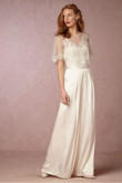 Spring Ivory Satin Bridal Jumpsuit Beach bride dresses with Cape wps-111