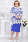 Plus size blue Mother of the bride dresses 2PC Knee-Length women's outfit with lace Overlay nmo-579