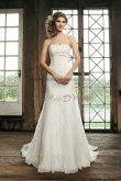 lace Appliques Elegant Strapless Brush Train wedding dress under 200 nw-0251