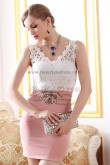 lace Vest Sexy Sheath Pink Elegant short prom dress nm-0237