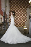 Bateau lace Mermaid Brush Train Discount wedding dress Back Design with Button nw-0118