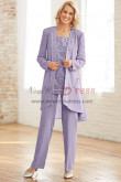 Lavender Chiffon Mother of the bride pant suit dress with Sequins Elastic waist Trouser Plus size nmo-434