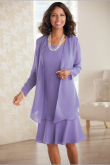 Lavender Mother of the bride dresses Knee-Length nmo-473