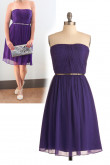 Custom Purple Chiffon Strapless Knee-Length Under $100 Bridesmaids Dresses nm-0146