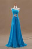 Blue One Shoulder Chiffon Crystal Hot Sale long prom dress np-0251