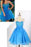 Ocean Blue Sweetheart Tiered Ruffles Chest With Crystal Homecoming Dresses nm-0154
