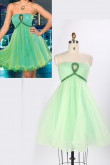 Strapless Green A-Line Under $100 Cocktail Dresses with Bottom Design Ruched nm-0156