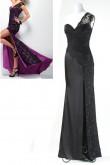 black or red Hi-Lo Side black lace Elegant One Shoulder Prom Dresses np-0165
