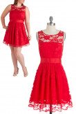 Red lace a-line Custom Jewel Neckline plus-size Bridesmaids Dresses nm-0163