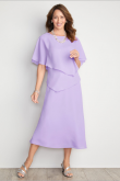 Mid-Calf Lilac Chiffon Mother of the bride dresses Custom-made nmo-478