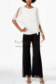 Loop Women Pearl Trim Overlay Top Pants suit for Weding party nmo-390