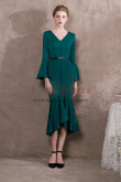 Mid-Calf Hunter green Prom dresses with Trumpet sleeve 2019 New arrival NP-0391
