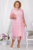 Mid-Calf Plus size Mother of the bride dress with jacket Pink lace women's outfits nmo-585