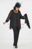 Modern Black Chiffon with Crystal Mother of the Bride pants suit dresses with shawl nmo-295