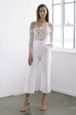 Modern Bridal Elastic Chiffon Jumpsuit Lace top Wedding dresses wps-147