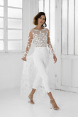 Modern Long Sleeves Lace Wedding Jumpsuits Mid-Calf Bride Dress wps-234