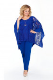 Modern Royal Blue 3PC Mother of the Bride pant suits With Cape Plus Size nmo-718-3