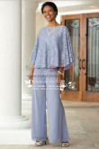 Mother of the bride pant suits Blue chiffon outfit with lace for Summer wedding nmo-263