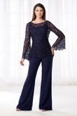Mother of the bride pant suits dresses Dark Navy Lace Two piece pants outfit nmo-500