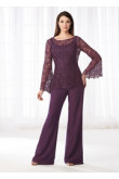 Mother of the bride pant suits dresses Lace Two piece pants outfit Purple nmo-531