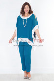 Ocean Blue Mother of the bride pant suits Trousers set nmo-387