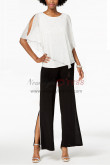 Mother of the bride pantsuits dresses Chiffon Withe Top and Black pants Set Pearl Trim nmo-381