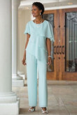 Jade Blue Mother of the bride pant suits Comfortable Chiffon Trousers set for Beach wedding nmo-264