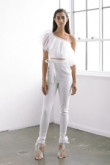 One Shoulder Bridal Jumpsuit Tulle Ruffles Top Elastic Chiffon Trousers wps-153