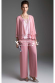 Pink chiffon women's outfits Lovely with jacket trouser suit for wedding nmo-182