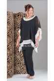 Plus size Fashion black Chiffon Mother of the bride outfit nmo-159