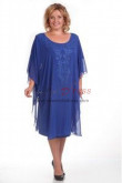 Plus Size Knee-Length Royal Blue Mother of the bride dresses nmo-335