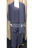 Plus size mother of the bride pant suit with jacket Charcoal Gray Chiffon 3PC for beach wedding nmo-232