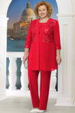 Red Plus size Mother of the bride pant suit Women 3PC Trousers outfits nmo-576