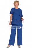 Plus size Royal blue chiffon Mother of the bride pant suit Two piece nmo-268