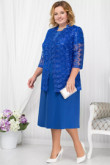 Plus size Royal blue Mother of the bride dress with Lace jacket Classic Women outfit  Custom-made nmo-562