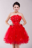 Red Strapless Handmade flower Knee-Length Ruched Homecoming Dresses nm-0200