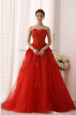 red a-line Sweetheart Appliques lace Sweep Train Multilayer tulle Wedding dresses nw-0154