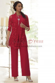 Red Lace Mother of the bride pant suit dress 3-PC Elastic waist Trouser set nmo-454