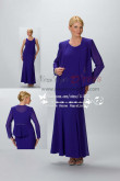 Royal blue Ankle-Length grand mother's dress withe jacket  cms-073