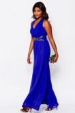 Royal blue chiffon prom jumpsuit with Criss-Cross Straps wps-175
