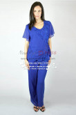 Royal blue Two piece Trousers set for Summer wedding Mother of the bride chiffon pant suits nmo-267
