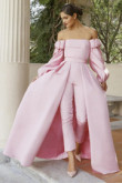 Satin Bridal Jumpsuit Pink Prom Gown Detachable Train wps-156