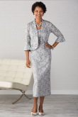 Silver Gray Lace Mother of the bride dresses With Jacket Mid-Calf Outfit nmo-465