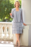 Silver Grey Mother of the bride dresses Layered Knee-Length Chiffon Oufit nmo-466