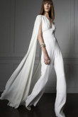 Modern bridal  white chiffon jumpsuit Wedding dress with cape wps-056