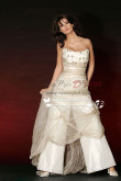 Taffeta Strapless Wedding jumpsuit dresses with tulle wps-010