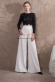 Black Lace top and Chiffon Two Piece wedding pantsuits pants NP-0426