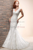 under 200 Mermaid lace Classic V-neck Spring Button wedding dresses nw-0185